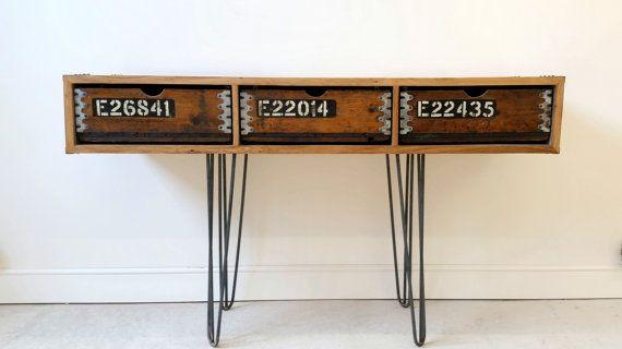 Vintage Industrial sideboard built using reclaimed materials sat on steel hairpin legs