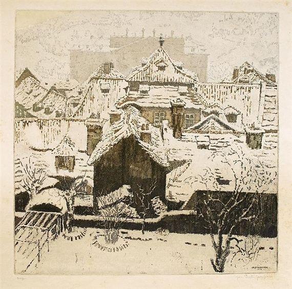 Winter roofs, Jaromir Stretti Zamponi. Czech (1882 - 1959)