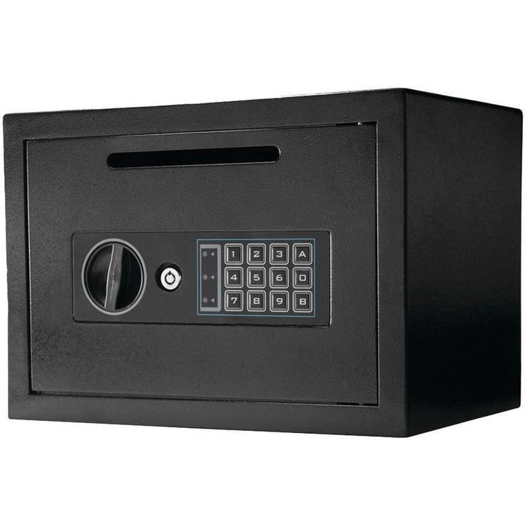 Barska AX11934 .56 Cubit-ft Compact Keypad Depository Safe. Keypad or backup key access;  2 solid-steel deadbolt locks;  Lock-out mode;  Predrilled hole on bottom & back of safe;  Includes 4 AA batteries, protective floor mat, set of emergency backup keys & mounting hardware;Barska AX11934 .56 Cubit-ft Compact Keypad Depository SafeCondition : This item is brand new, unopened and sealed in its original factory box.