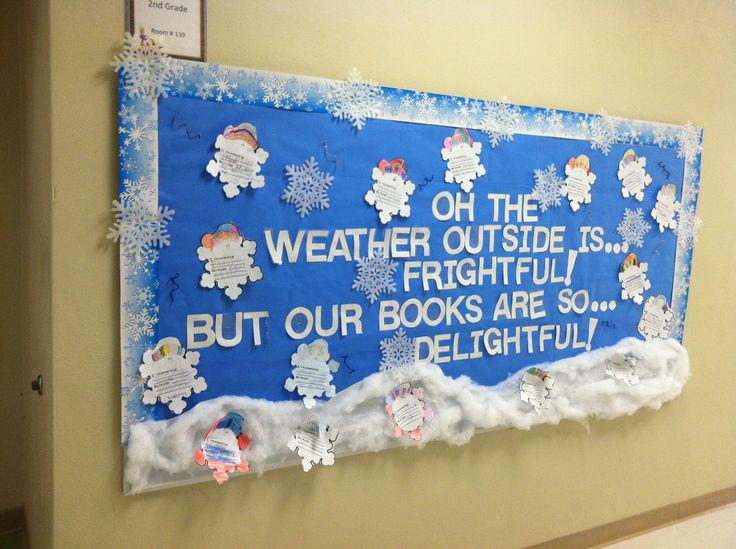 Winter Bulletin Board! -A.Anicola<3 The weather outside is frightful, but our books are so delightful!