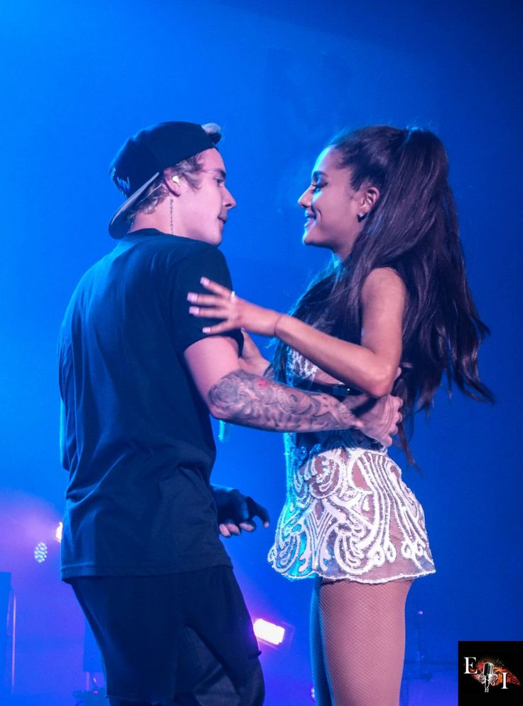 Ariana Grande & Justin Bieber on stage at the Honeymoon Tour