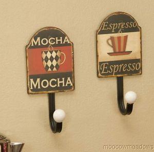 Coffee Kitchen Decor Vintage Adver Wall Hooks Key Holder