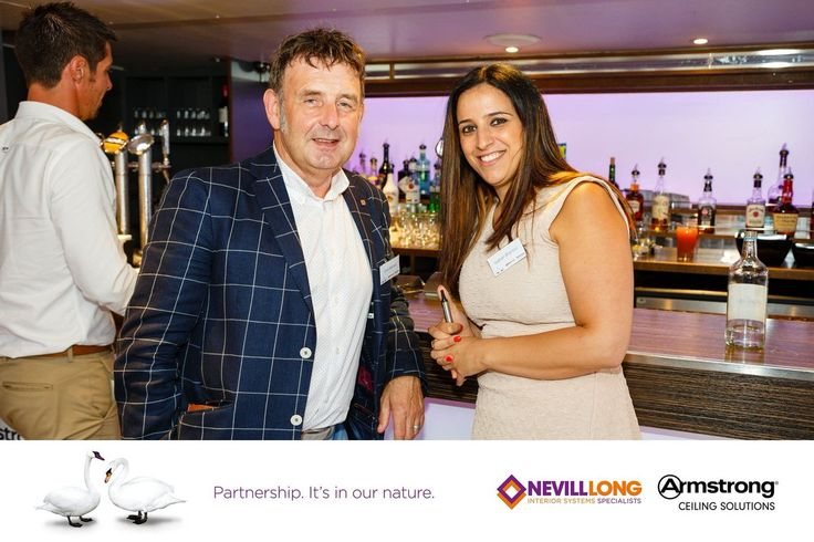 """""""Chris Barlow from Nevill Long @encon_group and @Isabel_Blanco_G from @ArmstrongCeilin at our celebration on the Thames"""""""
