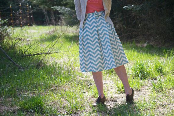 Pleated Chevron Skirt  Wedgwood Blue by kelliefalconerdesign, $110.00