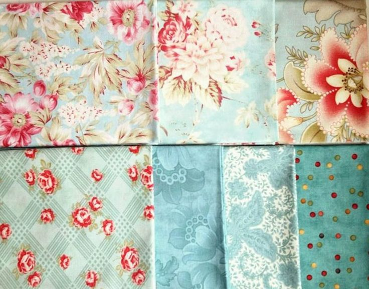 Moda AQUA Quilt Fabric 7 Fat Quarters Roses Tonal Quilting RARE! by CozyKittenQuilts on Etsy