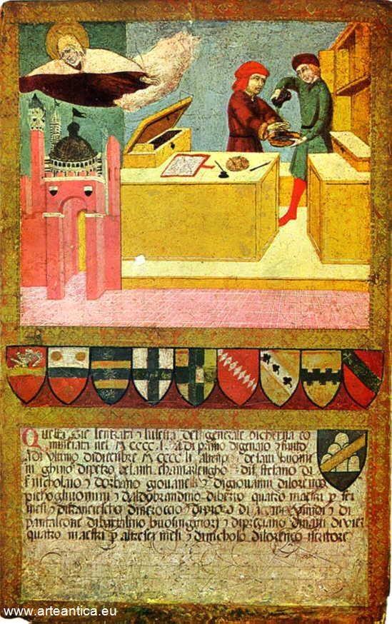 Siena protetta dalla Madonna mentre il Camarlingo se ne lava le mani. Del 1451, gennaio/dicembre.  Autore: Sano di Pietro  Tempera su Tavola