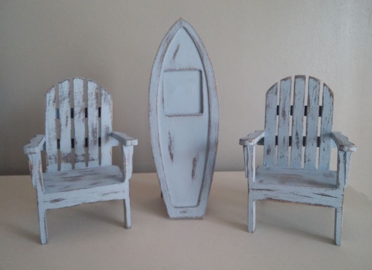 Miniature Wooden Beach Chairs With Wooden Surf Board Picture Frame, Painted and Distressed, iPhone Stand, Phone Holder by Not2ShabbyByMarilyn on Etsy https://www.etsy.com/listing/209028587/miniature-wooden-beach-chairs-with