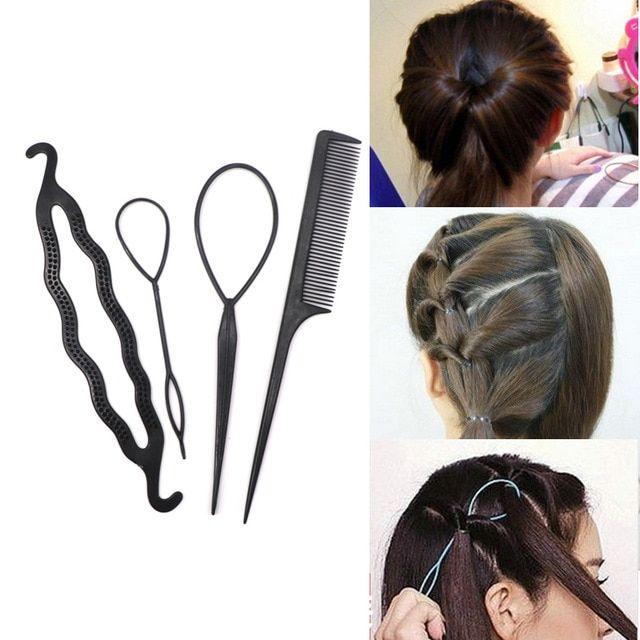 4pcs Ponytail Creator Plastic Diy Hair Styling Tools Black Hair Bands For Girls Hair Braid Hair Accessories Braids Hair Accessories For Women Braid Accessories