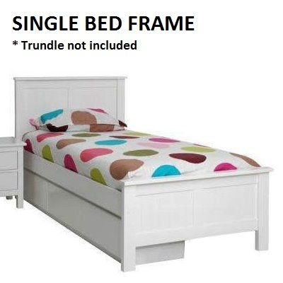 Lilydale Kids Single Bed Frame - White Solid Timber | Buy Kids Single Beds
