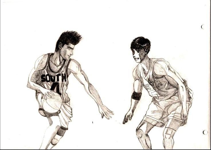 Scan original de un dibujo que representa a Sendoh y Sawakita enfrentándose en secundaria baja, cosa que se mencionó en el manga pero no se vio.  #Sendoh; #Sawakita; #SlamDunk Artista: 14onfire!