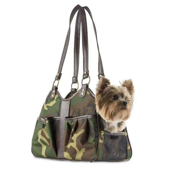 Metro Camo Brown Leather Dog Carrying Bag Dog Carrier Purse