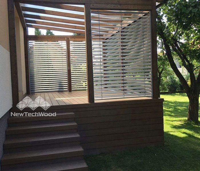 Outdoor storage or resting area with easy install material