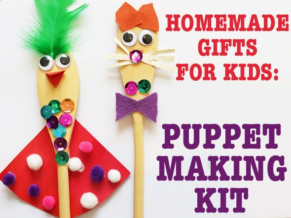 Puppet making kit - a great way to use up left over crafty scraps and for kids to create their own puppet.