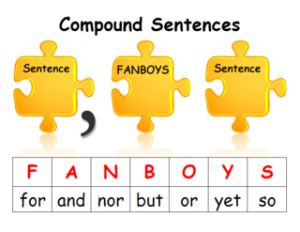 conjunctions for compound sentences: a graphic organizer and a mnemonic device :)