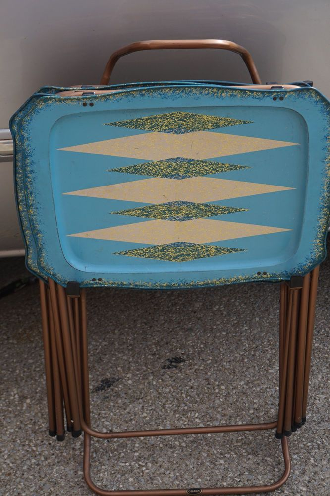 VINTAGE TV TRAYS CAL-DAK SET 4 w STAND 1950s MID CENTURY MODERN TURQUOISE METAL