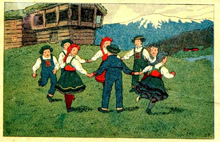 Bunadskort SVERRER KNUDSEN. Barn i bunader leker utg Mening 1911