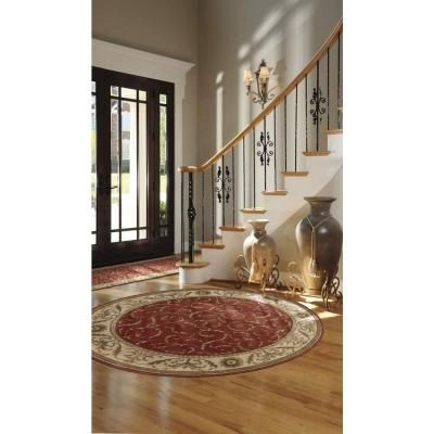 Nourison Rug Boutique Scrollwork Red 5 ft. 6 in. Round Area Rug - 47779 - The Home Depot