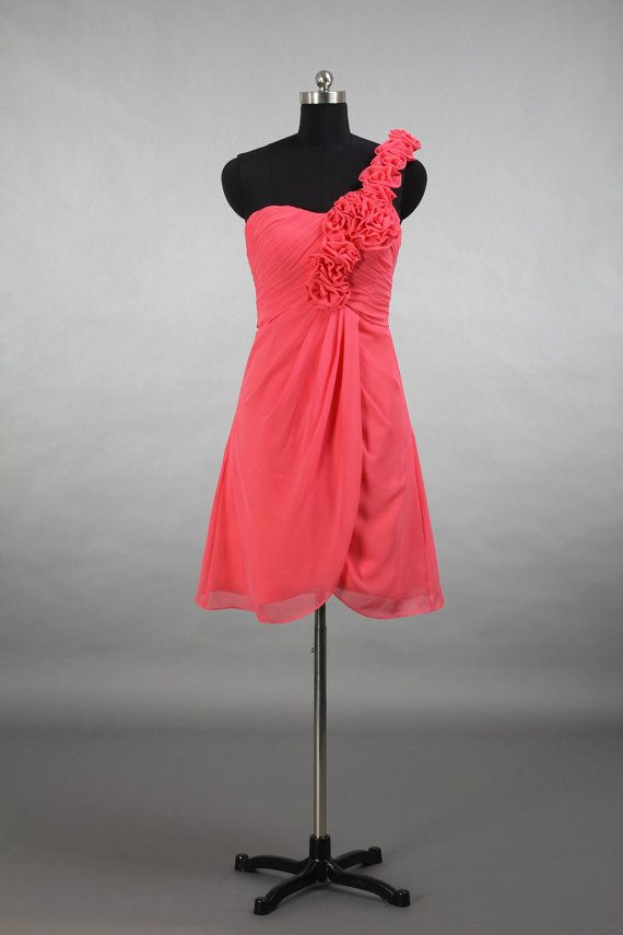 One Shoulder Coral Bridesmaid Dress, A-line Short Chiffon Bridesmaid Dress With Shoulder Flowers on Etsy, $89.00