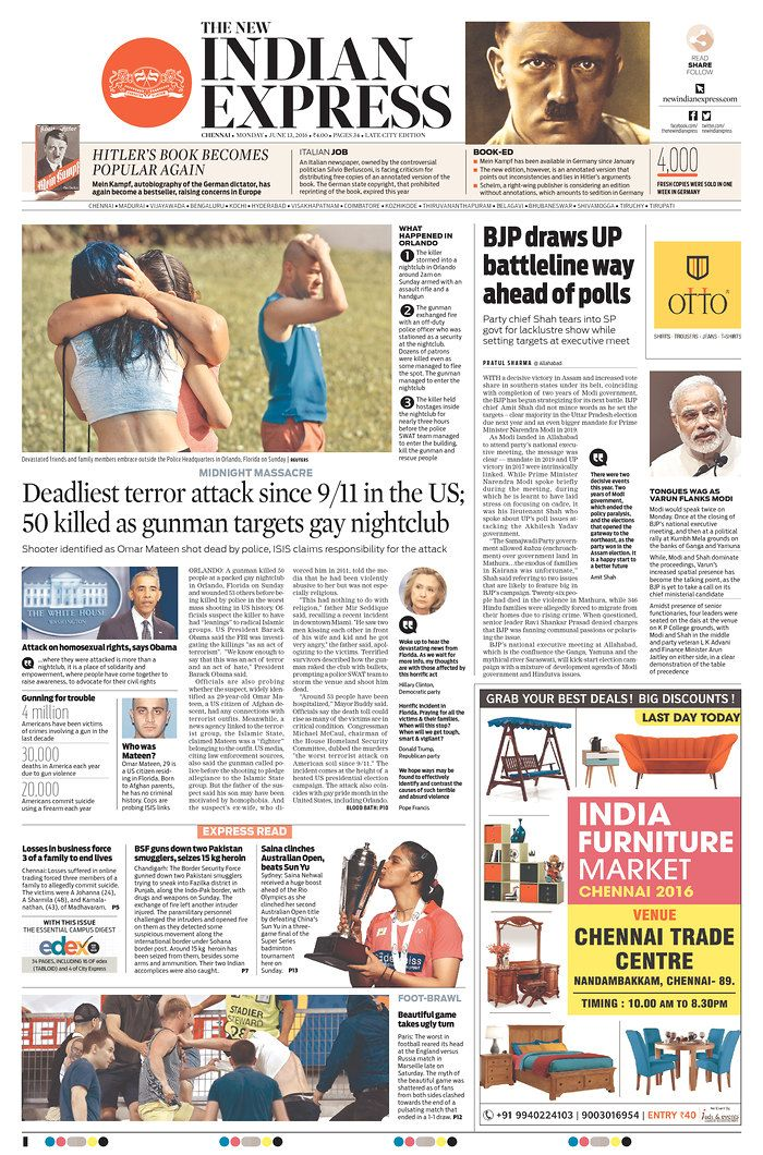 New Indian Express | Today's Front Pages | Newseum