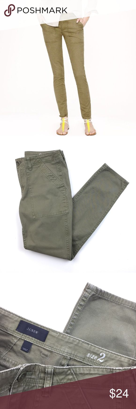 "J. Crew Olive Skinny Utility Chino Pants // 4 Great pair of J. Crew fatigue inspired skinny chino pants. Very good condition. 98% cotton 2% spandex. Size 2. 28 1/2"" inseam. 15"" waist flat. J. Crew Pants Skinny"