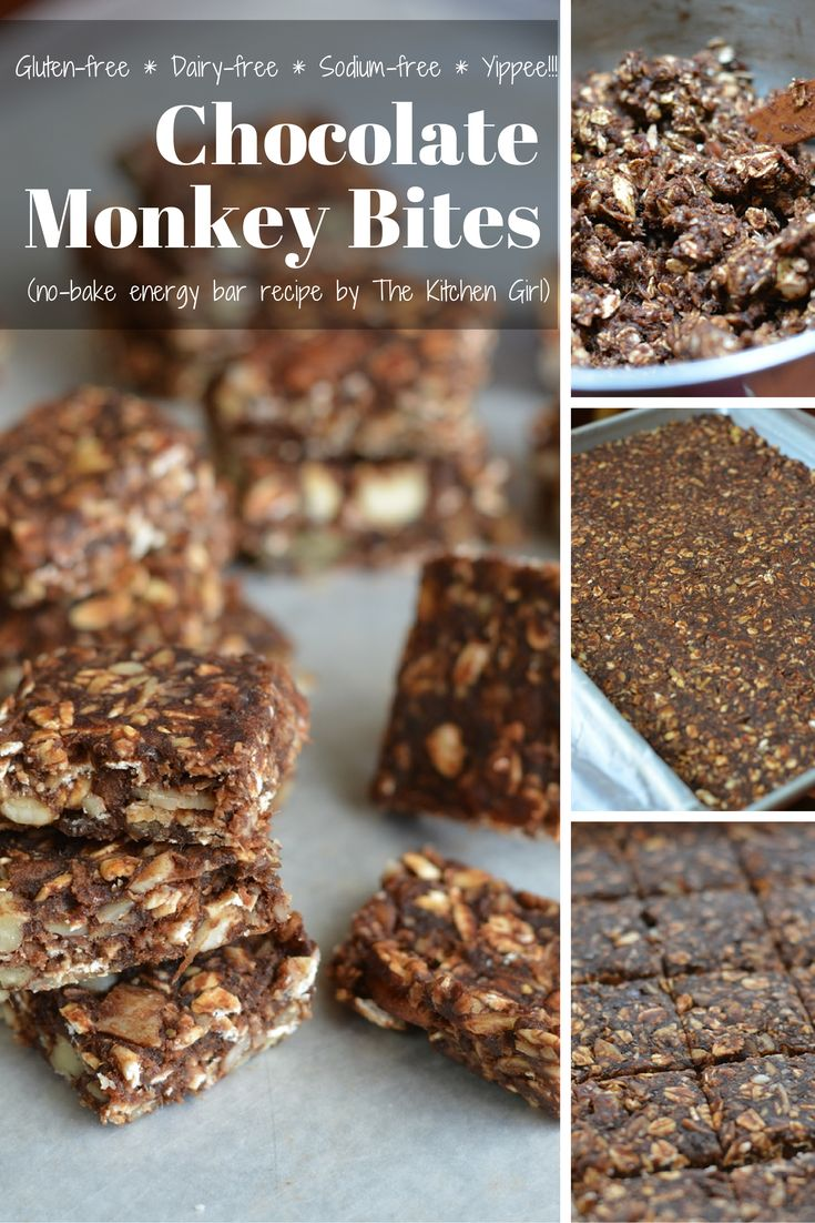 Chocolate Monkey Bites - gluten-free, dairy-free, sodium-free, no added sugar, no-bake energy bars. Snacks for adults and kids. www.thekitchengirl.com