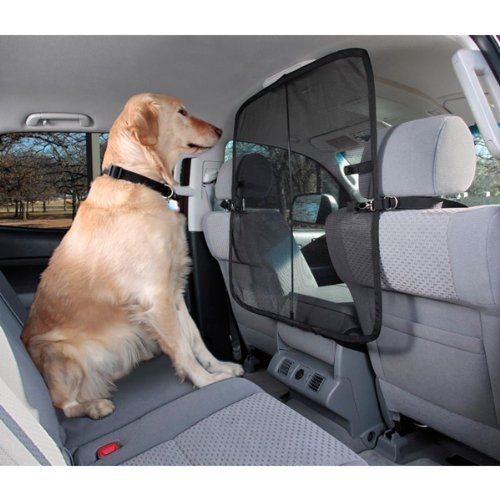 Block that space that allows the dog to jump from the back seat of the car and into the front seat by adding a pet barrier with a Solvit 62338 Front Seat Net Pet Barrier. Affiliate Link.