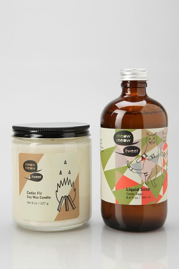 Meow Meow Tweet gift set in three of our favorite of their signature scents! Each set comes with bar soap, liquid soap, and a soy candle. #urbanoutfitters