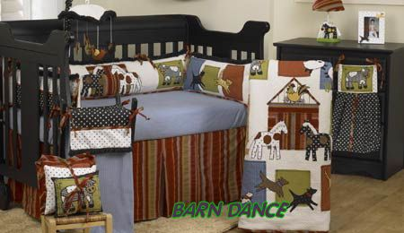 Western baby cowboy nursery bedding with patterned ponies and red and olive striped fabric