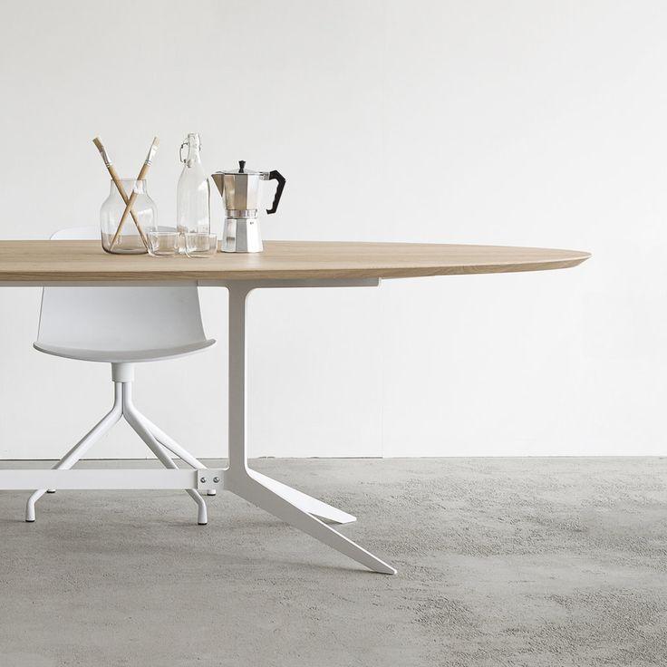 Maatwerk tafel type split, een stalen frame met een ovaal werkblad ...