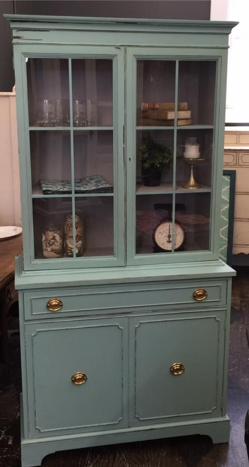 Cece caldwell 39 s duck blue used on a classic hutch by for Cece caldwell kitchen cabinets