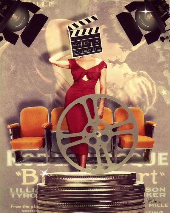 """Movie Hollywood Art Collage, Mixed Media, Movie Poster, Hollywood, Movie Theater Decor, """"Movie Town"""""""
