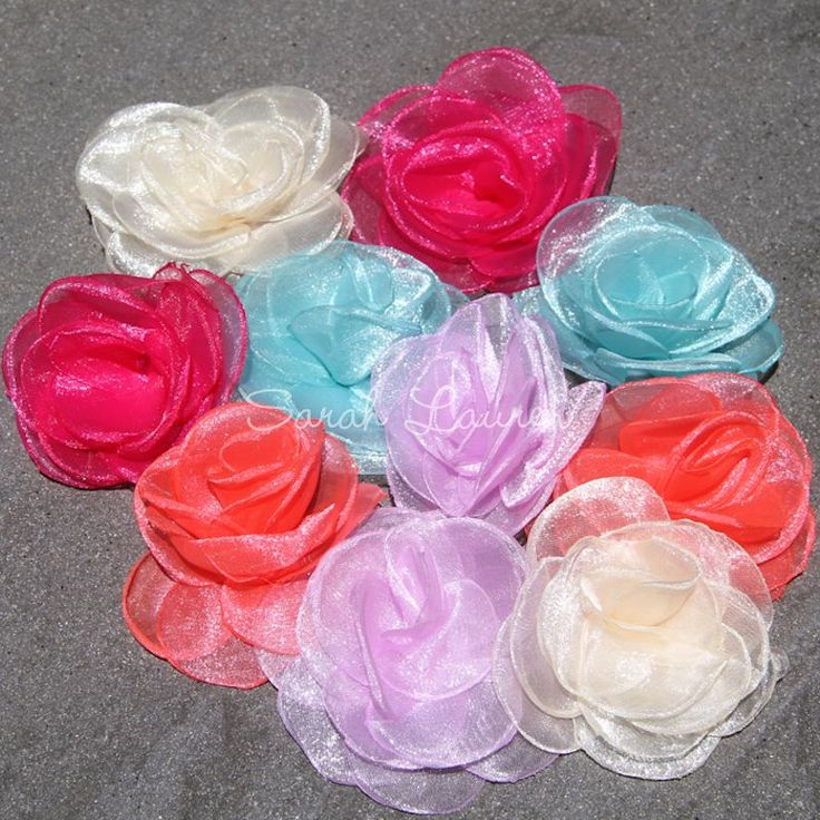 Organza Flowers for your craft project? CLICK HERE to view our range of fabric flowers, hot fix rhinestones, wholesale hair clips and craft supplies online.
