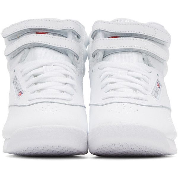 Reebok Classics White Freestyle High-Top Sneakers (90 CAD) ❤ liked on Polyvore featuring shoes, sneakers, reebok shoes, white hi top sneakers, white leather shoes, leather high tops and reebok sneakers