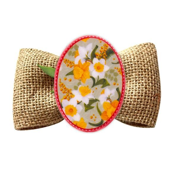 Broșă mărțișor tip pin Flori de câmp galben