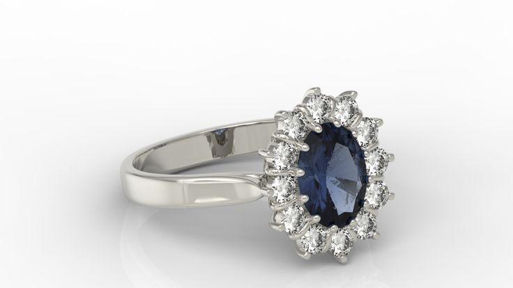 Pierścionek z białego złota z szafirem i diamentami/ Ring made from white gold with sapphire & diamonds #engagement #ring #jewellery #withlove #design