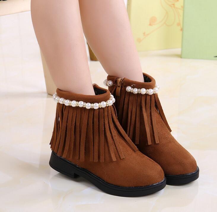 >> Click to Buy << 2016 autumn new children's shoes Korean tassel girls pearl diamond boots baby girl plus velvet warm ankle boots for girls #Affiliate