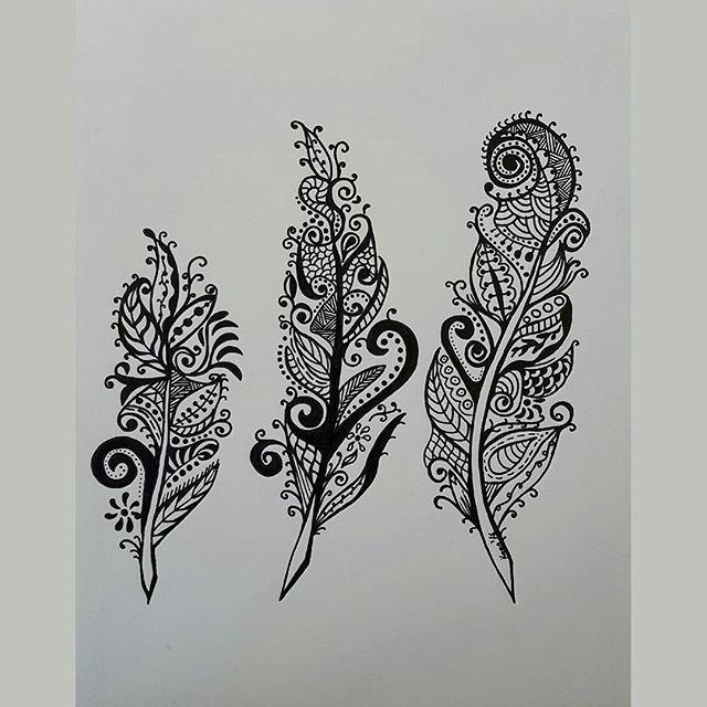 #zentangle feathers #zentangleinspiredart