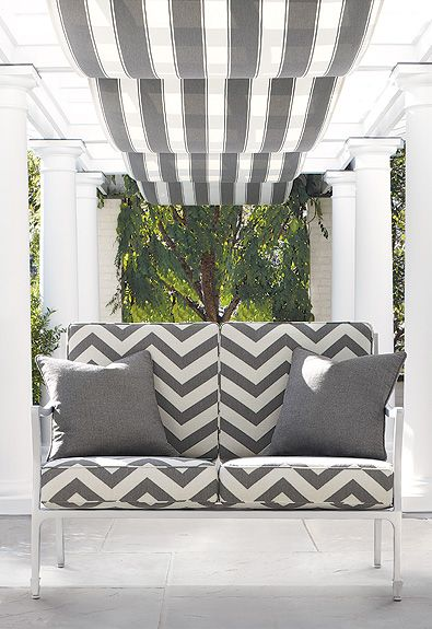 Schumacher's Cote d'Azur indoor outdoor collection.Indooroutdoor, Outdoor Seats, Outdoor Living, Outdoor Fabrics, Indoor Outdoor, Outdoor Room, Cote D Azure, Outdoor Area, Outdoor Spaces