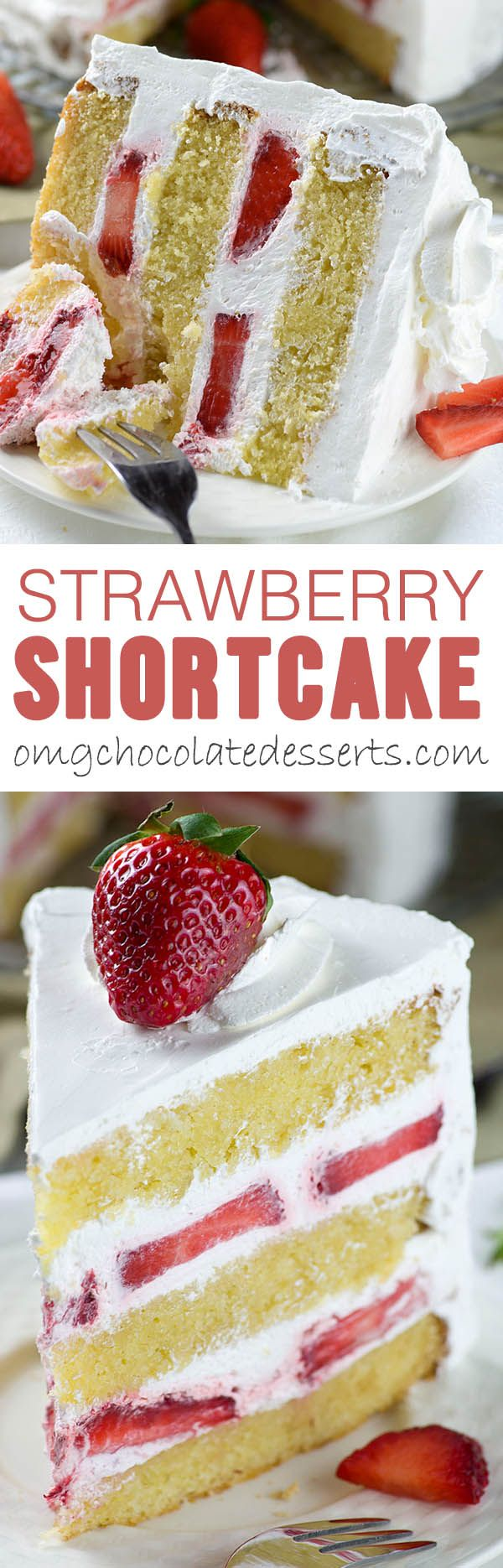 Strawberry Shortcake Cake – layers of dense, buttery and  moist vanilla cake filled with fresh whipped cream and fresh sliced strawberries. Easy spring ( or summer ) dessert recipe to celebrate the arrival of my favorite season.