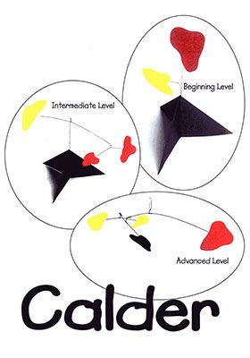 Calder Art Projects for Kids:  Alexander Calder's abstract mobiles can be seen around the world.  This American artist created imaginative mobiles, stabiles, and sculptures combining interesting shapes, colors, and motion.  The children design and assemble their own mobiles and stabiles in Calder's style.