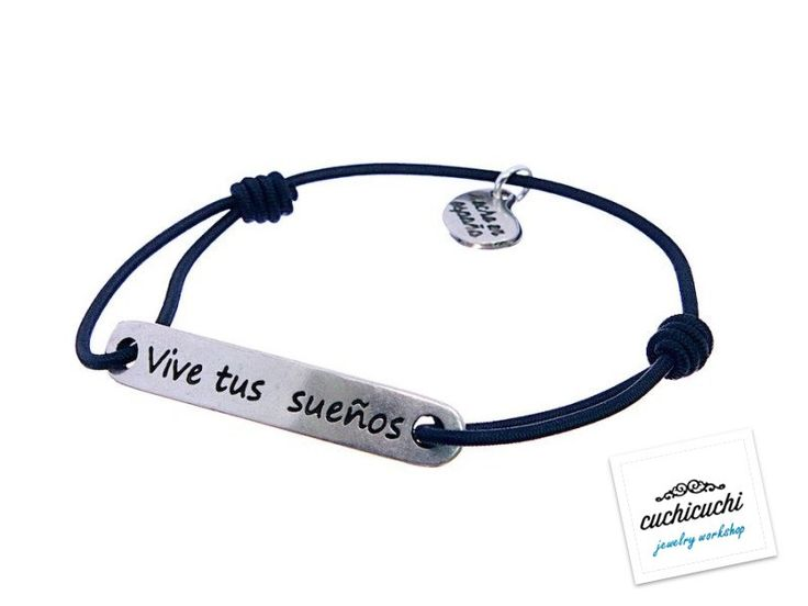 Black custom elastic bracelet with a name,date or your favorite pharase engraved -The engraving is included -925 Silver -Handmade in Spain by CuchiCuchiSHOP on Etsy