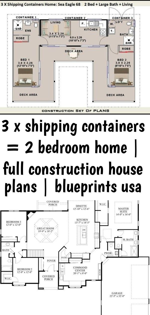3 X Shipping Containers 2 Bedroom Home Full Construction House Plans Blueprints Usa Feet I Shipping Container Home Designs House Plans Container House