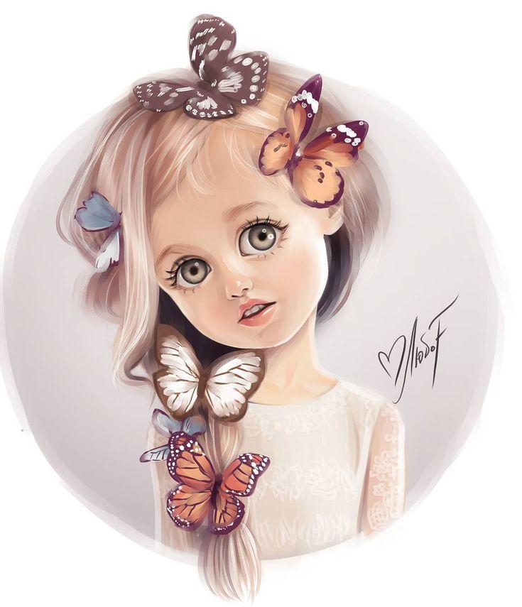 Картинки девочек милых нарисованных