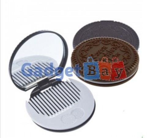 Portable Cute Chocolate Cookie Shaped Cosmetic Makeup Mirror + Comb Ladies Girls Buy it on www.gadget-bay.com Free Shipping Europe wide