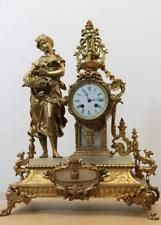 ANTIQUE 1876 FRENCH  CLOCK  Gilt  Spelter Alabaster ROMANTIC WOMAN WITH FLOWERS