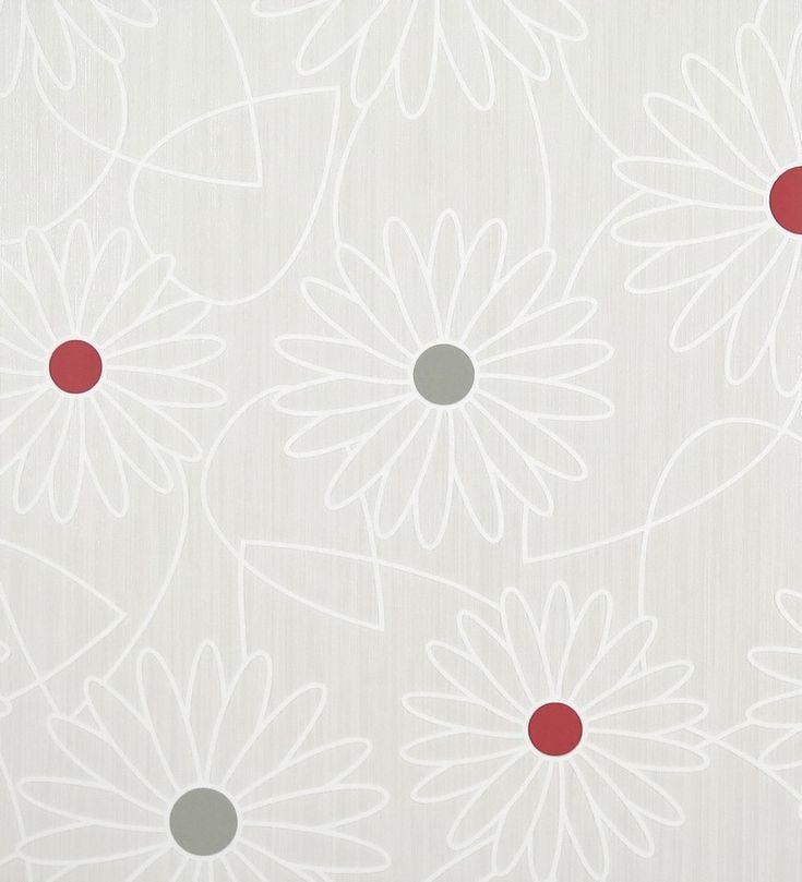 Papel pintado margaritas grandes modernas rojo intenso Triana 118796