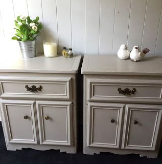 Vintage Workroom: Taupe Matching Bedside Tables. Part 83