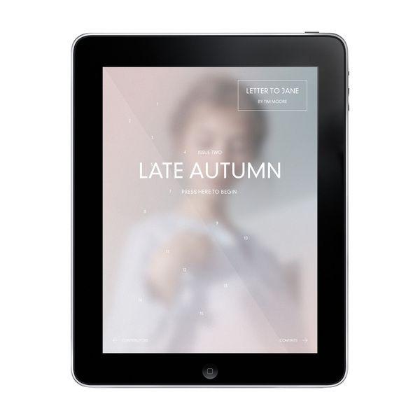 Late Autumn for iPad by Timothy Moore, via Behance.  Difuminado del fondo. Lámina.  APP Design.