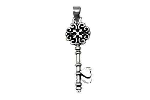 Sterling Silver Heart Oxidised Key Pendant