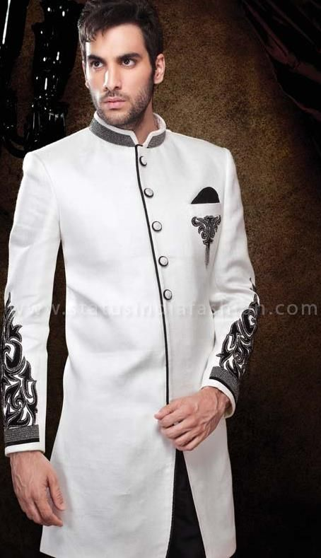 sherwani for men, sherwani uk, Asian clothes, wedding sherwani, Indian wedding sherwani, sherwani indo western, white indowestern sherwani www.statusindiafashion.com